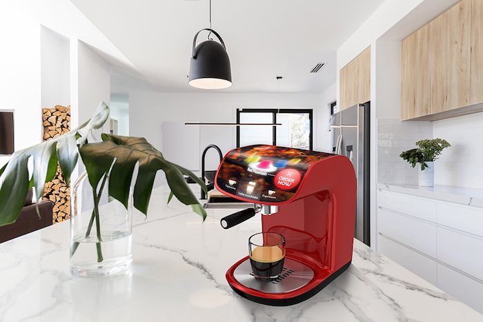 Smart coffee machine in kitchen