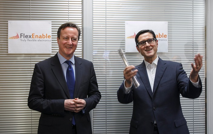 British Prime Minister, David Cameron and FlexEnable Chairman, Indro Mukerjee